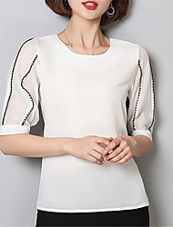 Women's Going out Casual/Daily Street chic Spring Blouse,Solid Round Neck ½ Length Sleeve Polyester Medium
