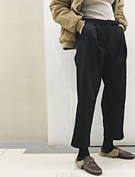 signo de trébol caliente harén de terciopelo pantalones anchos de la pierna pantalones de traje negro jeans rectos
