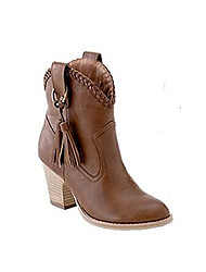 Mujer Zapatos PU Invierno Confort Botas de Combate Botas Tacón Plano Para Casual Amarillo Claro Marrón