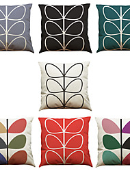 Set of 7 Colorful Leaves Pattern Linen  Cushion Cover Home Office Sofa Square  Pillow Case Decorative Cushion Covers Pillowcases As a Gift