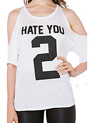 2016 europeus e americanos moda odeio você 2 letras impressas ombro oco rodada pescoço quinto manga t-shirt feminino