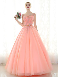 Ball Gown Scoop Neck Floor Length Tulle Formal Evening Dress with Beading