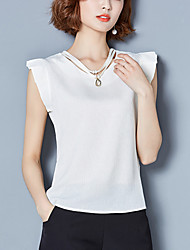 Women's Ruffles and Frills Plus Size Casual/Daily Street chic Summer Slim Blouse Solid Ruffle V Neck Sleeveless Polyester Thin