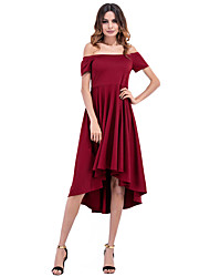 Women's Formal Party/Cocktail Simple Sheath Dress,Solid Turtleneck Knee-length Above Knee Short Sleeve Polyester All Seasons Low Rise