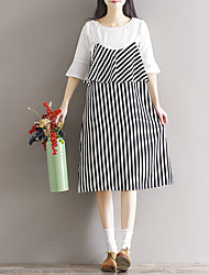 Sign 2017 spring new female striped dress Korean temperament loose woman
