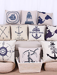 10 pcs Linen Pillow Cover Pillow Case,Textured Nautical Still Life Graphic PrintsModern/Contemporary Casual Office/Business Outdoor Euro
