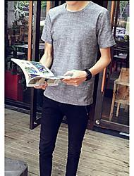 -p25 60% neue Männer&# 39; s Normallack Rundhals Kurzarm T-Shirt Kaffee Baumwolle, Leinen 40%