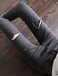 знак корейской версии 2017 весной новый джинсовой изношен окантовка брюки ноги талии джинсы женщина колготки