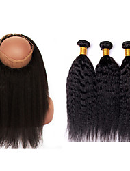 Vinsteen Brazilian Hair Wefts 3pcs lot Unprocessed Virgin Human Hair Kinky Straight with 360Lace Frtontal Closure Can Be Dyed NoTangle and No Shedding