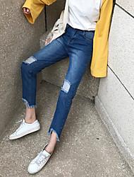 signer la version coréenne du nouveau genou était mince jeans collants trous de pantalons féminins irréguliers