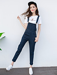 Excellent customer really making 2017 spring new boyfriend force max solid color loose denim overalls female