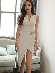 Women's Asymmetrical Shopping ladies temperament Slim package hip dress