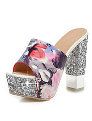 Women's Slippers & Flip-Flops Summer Fall Slingback PU Office & Career Party & Evening Dress Chunky Heel Sequin