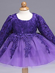 Ball Gown Short / Mini Flower Girl Dress - Organza Long Sleeve Jewel with Bow(s) Lace