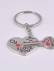 Key Chain Heart-Shaped Key Chain White Metal