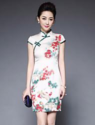 Gaine Robe Femme Sortie Chinoiserie,Fleur Mao Au dessus du genou Manches Courtes Polyester Printemps Eté Taille Normale Non Elastique