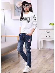 Girls' Casual/Daily Embroidered Jeans-Polyester Spring