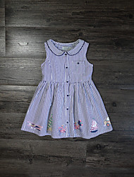 Girl's Sports Embroidered Dress,Linen Summer Sleeveless