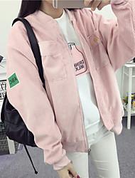 Lovers cardigan jacket Korean version of the Japanese retro corduroy collar baseball uniform tide