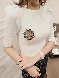 2017 été nouvelle mode coréenne à manches courtes tricot chemise mince épaule stand chemise col rond de tempérament