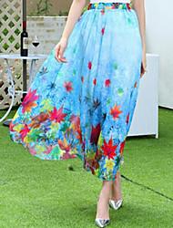 Damen Hohe Hüfthöhe Strand Midi Röcke Schaukel Blumen Sommer