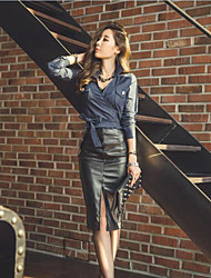 2016 Korean fashion sexy slit waist and long sections package hip skirt autumn and winter PU leather skirt
