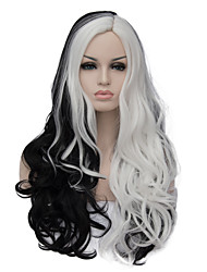 The European and American fashion daily double long curly hair party cos wig  black and white 1408