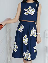 Real shot summer 2016 Korean Women flower print sleeveless vest + big swing skirt suit