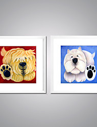 Framed Canvas Prints Lovely Dog Painting Print on Canvas Modern Artworks with White Frame  for Kid's Room Decoration