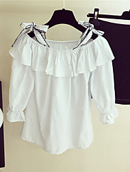 Real shot Korean version of sweet bow sling flounced blouse Institute of wind loose shirt Sleeve