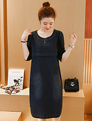 Really making 2017 spring long sections Women Korean leisure big yards fat mm thin long-sleeved A-line denim dress