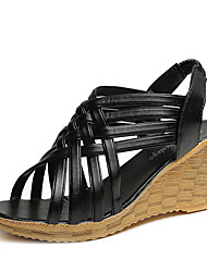 Mujer-Tacón Cuña-Confort-Sandalias-Informal-PU-Blanco Negro Beige Marrón Claro