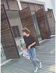 Spring Slim jeans female loose light-colored knee hole beggar washing frayed trousers pants