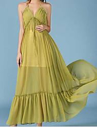 Streamer summer new women chiffon halter strap dress beach resort oversized swing skirt