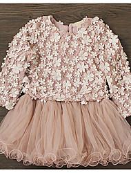 Девичий Платье На каждый день Хлопок Однотонный Весна Длинный рукав