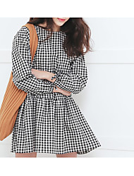 17 In the spring new Korean Institute of wind loose plaid long-sleeved dress was thin female