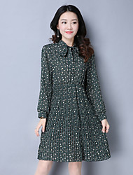 Sign 2017 spring retro long-sleeved floral print dress bow pleated skirt Puff