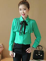 лук рубашку с длинными рукавами женского +2017 весной новый корейский шифон рубашка блузка небольшой рубашки пассивом занятие