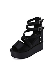 Women's Sandals Spring Summer Club Shoes PU Party & Evening Dress Wedge Heel Beading Buckle