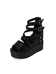 Damen Sandalen Club-Schuhe PU Frühling Sommer Normal Kleid Club-Schuhe Perlenstickerei Schnalle Keilabsatz Schwarz Silber 10 - 12 cm