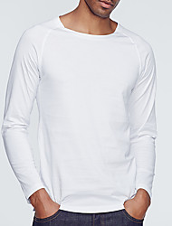 Men's Beach Simple Shirt,Solid Round Neck Long Sleeve Polyester