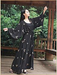 Damen Swing Kleid-Ausgehen Blumen Rundhalsausschnitt Maxi Langarm Seide Sommer Hohe Hüfthöhe Mikro-elastisch Dünn