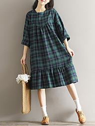 Sign 2017 new spring dress Sen female line loose big yards long sleeve cotton plaid long skirt