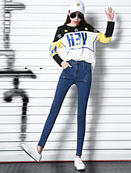Sign spring new black high waist skinny jeans feet pencil pants pants large size women