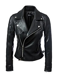Women's Casual/Daily Punk & Gothic Spring Fall Leather Jacket,Solid V Neck Long Sleeve Short PU