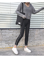 Sign wild side fringe stripe jeans female feet Slim was thin pencil pants nine points