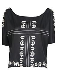 Damen Druck Sexy Ausgehen T-shirt,Rundhalsausschnitt Langarm Polyester