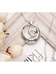 Women's Girls´ Pendant Necklaces Jewelry Round Love Infinity Alloy Love Heart Personalized Jewelry ForParty Special Occasion Birthday