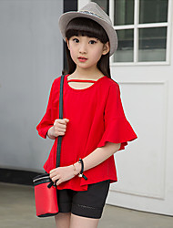 Girls' Going out Casual/Daily Holiday Patchwork Sets Cotton Summer Mandarin Half Sleeve Top Shorts 2 Pieces Clothing Set