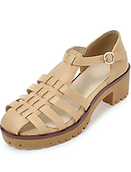 Women's Sandals Summer Gladiator Leatherette Casual Chunky Heel